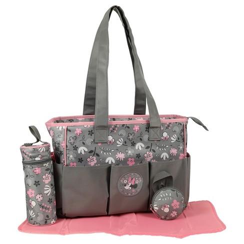 Disney Minnie Mouse Diaper Bag 3pc - Gray Floral   Target 8458f27209d3b