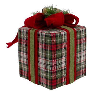 """Northlight 6.5"""" Red and Green Plaid Christmas Present Decoration with Bow"""