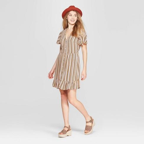 2b8428e415 Women s Striped Short Sleeve Deep V-Neck Button Front Dress - Xhilaration™  Gold
