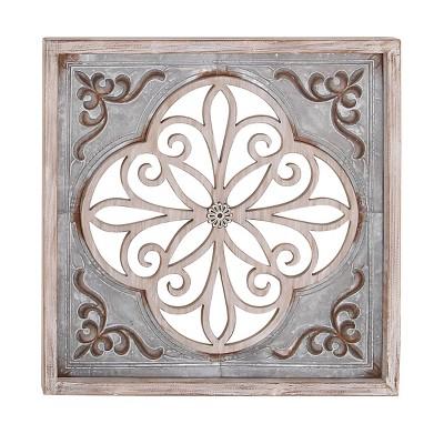 """36"""" x 36"""" Traditional Wood and Iron Flourish Wall Decor - Olivia & May"""