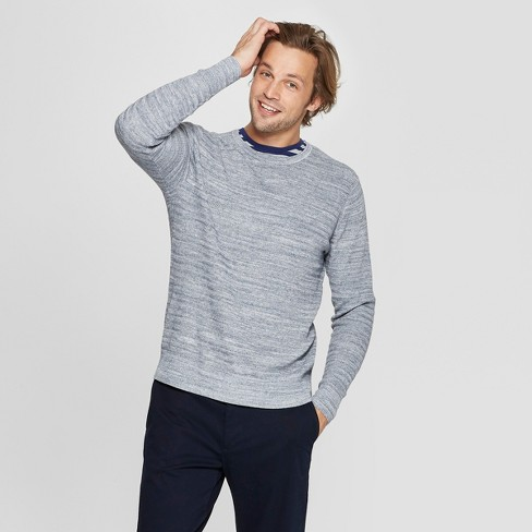 Men's Standard Fit Long Sleeve Crew Neck Pullover Sweater - Goodfellow & Co™ Denim Heather L - image 1 of 3