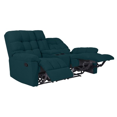 Alma 2 Seat Tufted Wall Hugger Recliner Loveseat with Power Storage Console Plush Low Pile Velour Peacock Blue - ProLounger