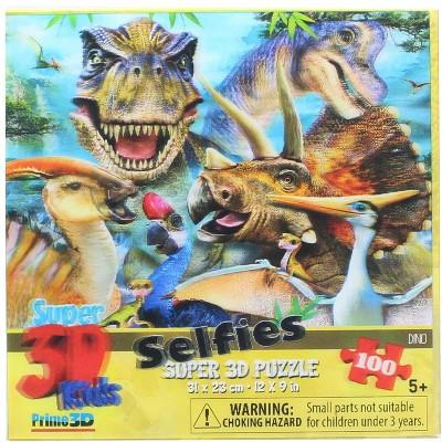 The Zoofy Group LLC Dinosaur Selfie 100 Piece Super 3D Kids Jigsaw Puzzle