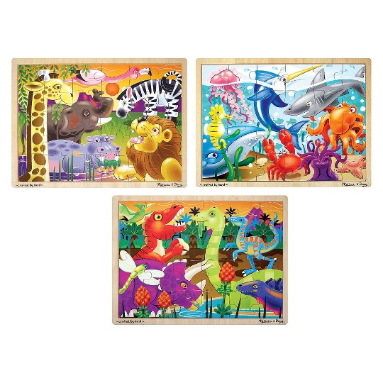 Melissa & Doug 3-Puzzle Jigsaw Set - Dinosaurs, Ocean, and Safari image number null