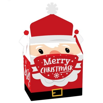 Big Dot of Happiness Merry Christmask - Treat Box Party Favors - 2020 Quarantine Christmas Party Goodie Gable Boxes - Set of 12