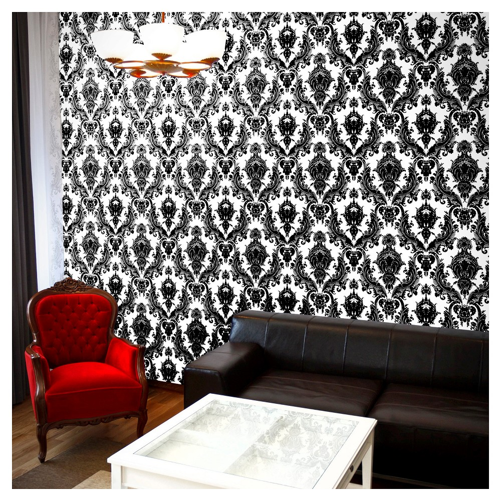 Tempaper - Damsel Self-Adhesive Removable Wallpaper - Black And White