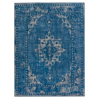 5'X7' Medallion Roma Overdyed Woven Area Rug Blue - Threshold™