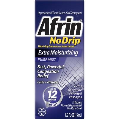 Afrin No Drip Extra Moisturizing Nasal Congestion Relief Pump Mist - 0.5 fl oz