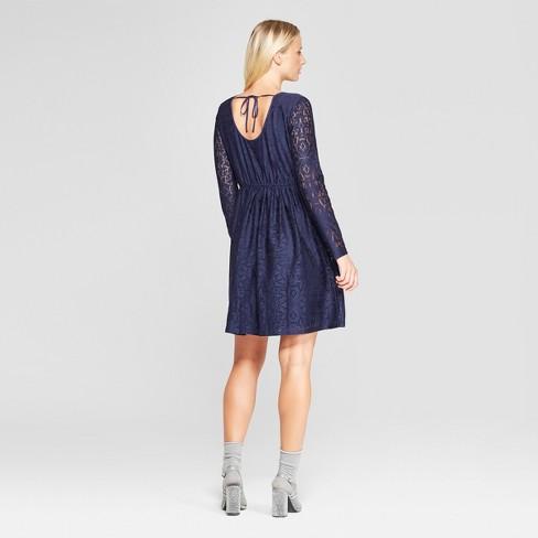 0c9a7dde2ab Women s Long Sleeve Scoop Neck Tie Back Lace Dress - Xhilaration™   Target
