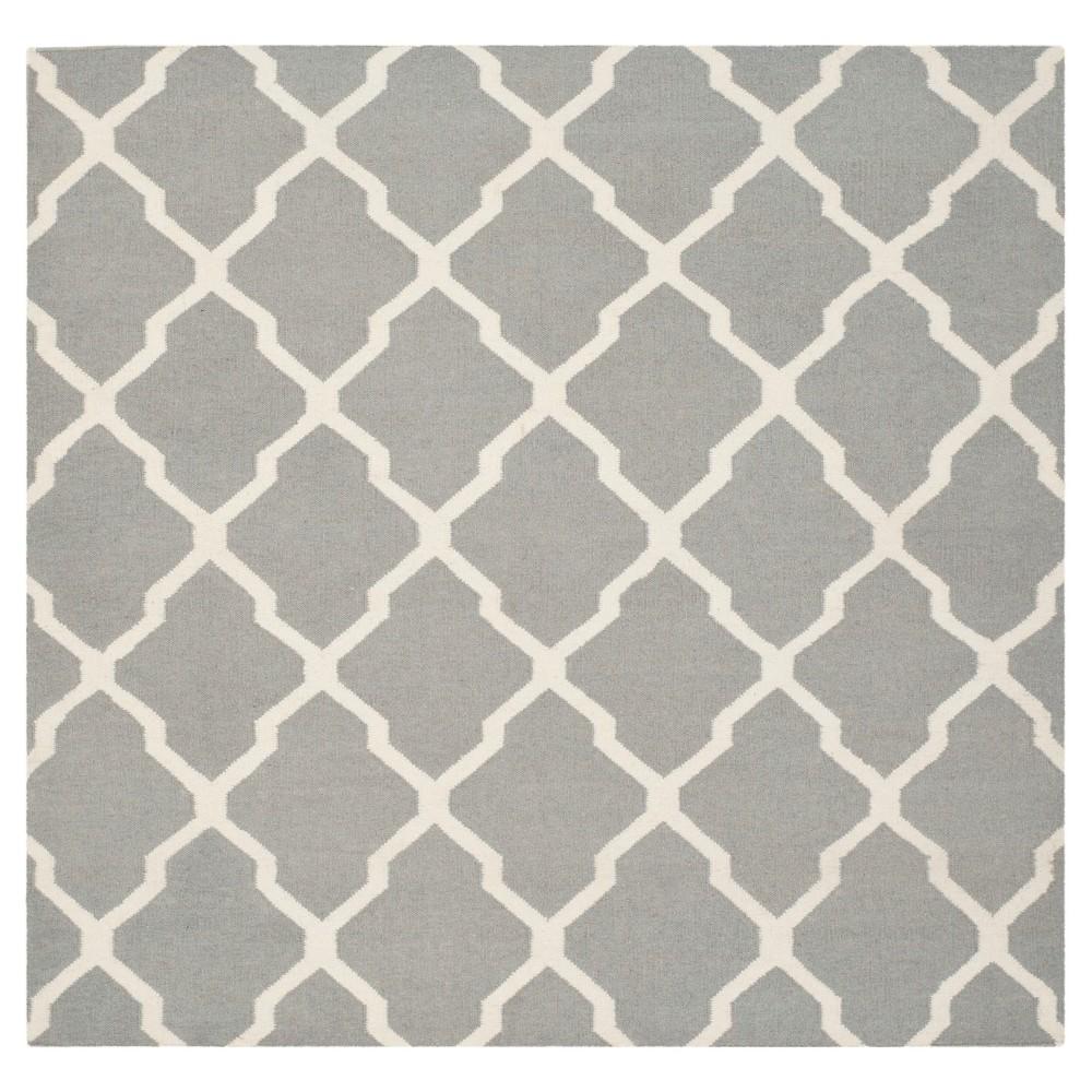 Promos Dhurries Rug - Gray Ivory - (8x8 Square) - Safavieh