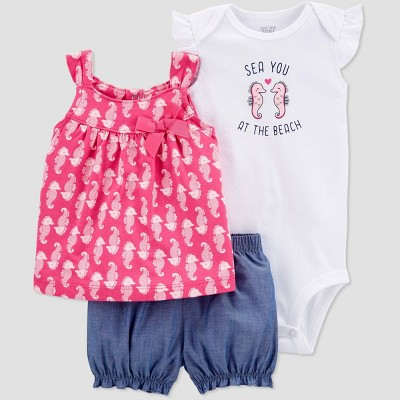 Baby Girls' Seahorse Top & Bottom Set - Just One You® made by carter's Pink 12M
