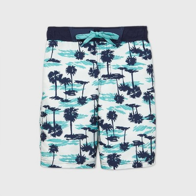 Boys' Palm Tree Print Swim Trunks - Cat & Jack™ White
