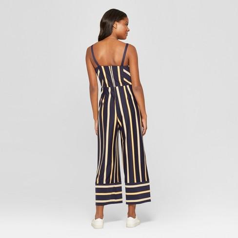 d38b385b37c2 Women s Striped Strappy Square Front Knit Jumpsuit - Xhilaration™  Navy Mustard Stripe XXL   Target