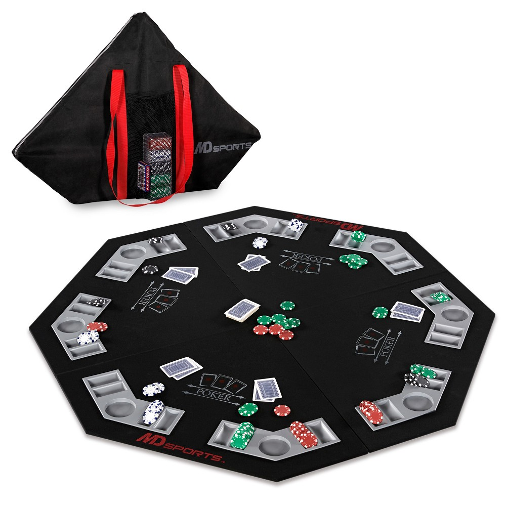 MD Sports Poker Table Top with Accessories - Black