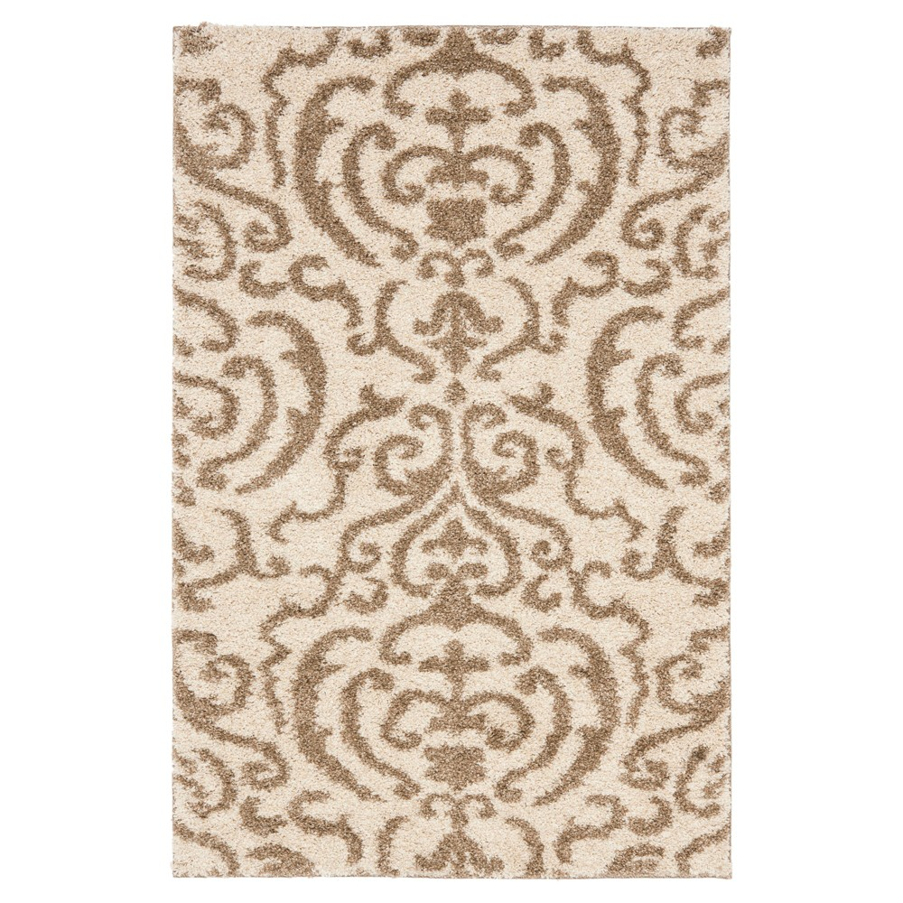 Cream/Beige Abstract Loomed Accent Rug - (3'3
