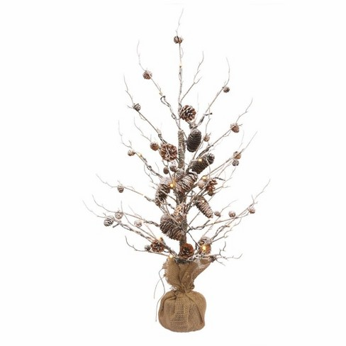 Napa Home & Garden 3' Pre-Lit Artificial Christmas Tree Frosted Pine Cone Twig - Clear Lights - image 1 of 1