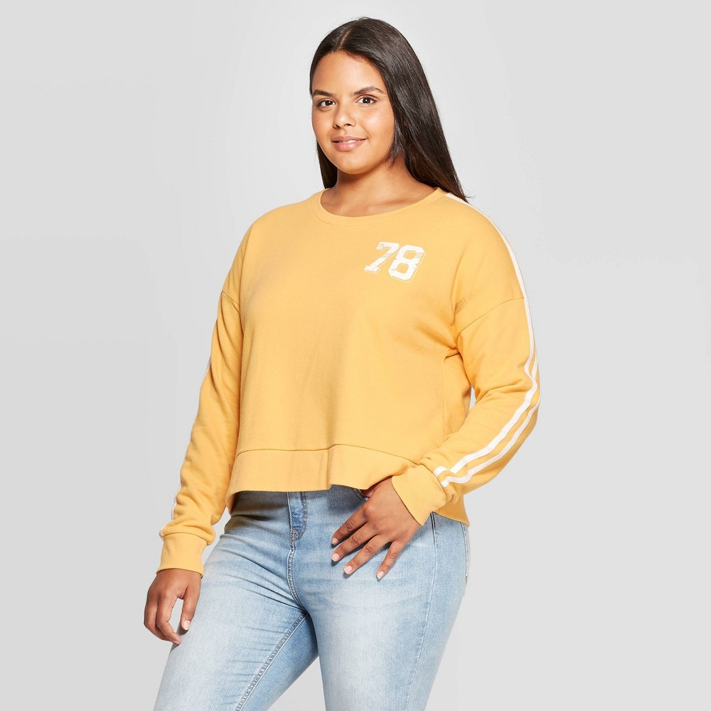 Image of Women's 78 Plus Size Cropped Pullover Sweatshirt (Juniors') - Yellow 1X, Size: 1XL