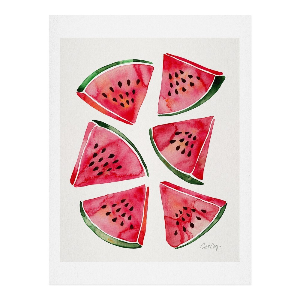 "Image of ""11"""" x 14"""" Cat Coquillette Watermelon Slices Wall Art Print Pink - society6"""