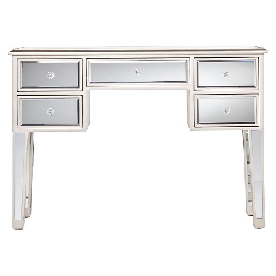 Tobias Mirrored Desk/Console Table - Silver - Aiden Lane