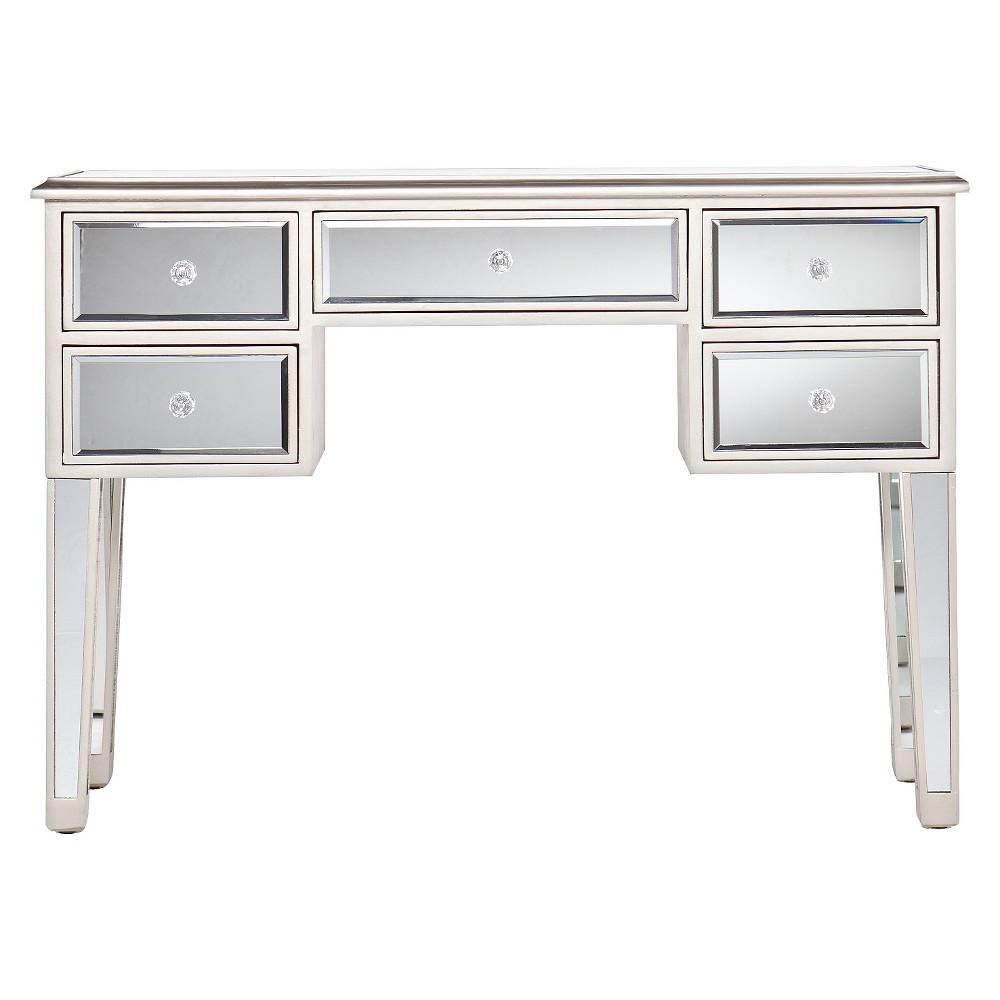 Tobias Mirrored Desk - Silver - Aiden Lane, Light Silver