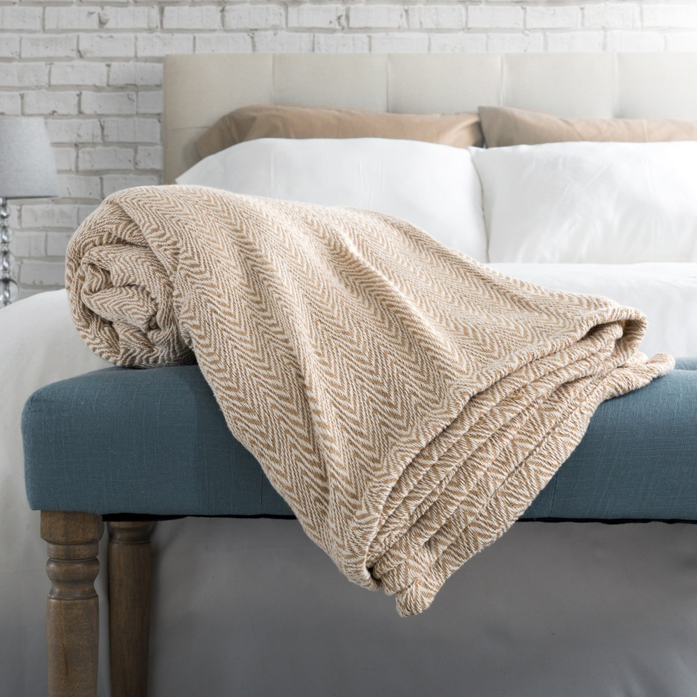 Image of 100% Cotton Luxury Soft Blanket (Twin) Taupe Chevrons - Yorkshire Home, Brown Chevrons