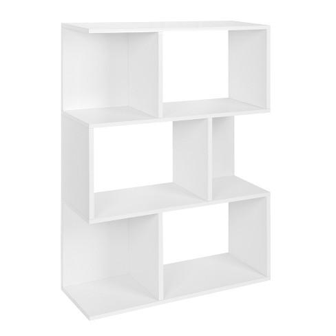 Way Basics Madison Bookcase Room Divider Shelf Natural White