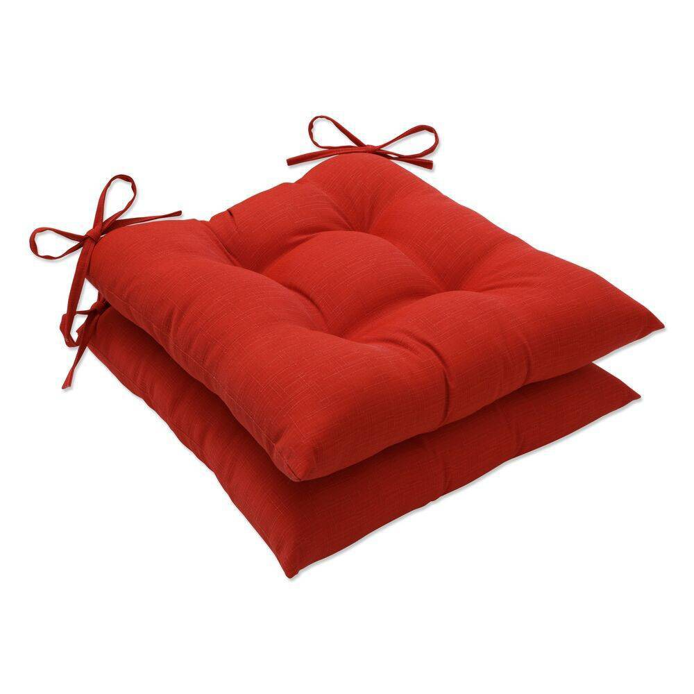 2pk Outdoor Indoor Wrought Iron Seat Cushion Set Splash Flame Red Pillow Perfect