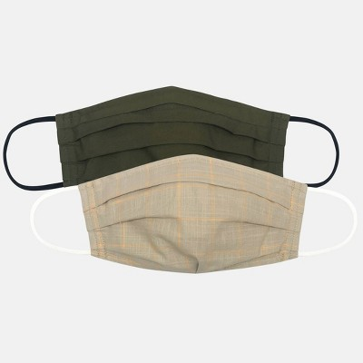 Women's 2pk Check Print Face Mask - Universal Thread™ Window Pane/Solid Olive