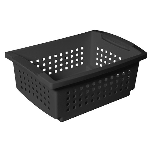 Plastic Stacking Medium Basket - Black - Room Essentials™ - image 1 of 1