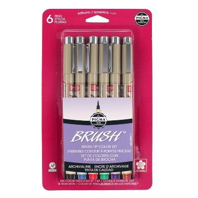 6pk 1.0mm Brush Pens - Multicolor Pigma Micron