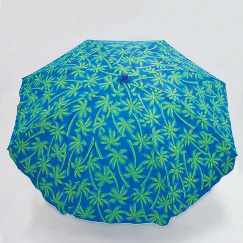 Patio Beach 6' Umbrella - Blue/Green - Evergreen - image 1 of 4