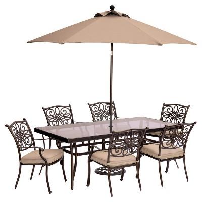 Traditions 9pc Rectangle Metal Patio Dining Set W/ 9u0027 Table Umbrella U0026 Umbrella  Stand   Tan   Hanover