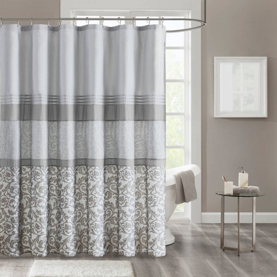 Casey Printed Shower Curtain with Liner Gray
