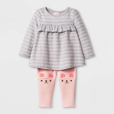 Baby Girls' Long Sleeve Critter Tunic Top & Bottom Set - Cat & Jack™ Gray/Pink 0-3M