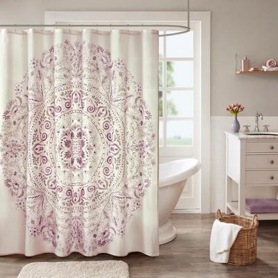 Kaia Cotton Printed Shower Curtain Purple