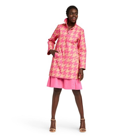 Women's Houndstooth Print Long Sleeve Front Button-Down Jacket - Isaac Mizrahi for Target Pink/Tan - image 1 of 7