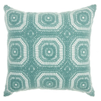 Life Styles Crochet Tiles Square Throw Pillow Pastel Green - Mina Victory