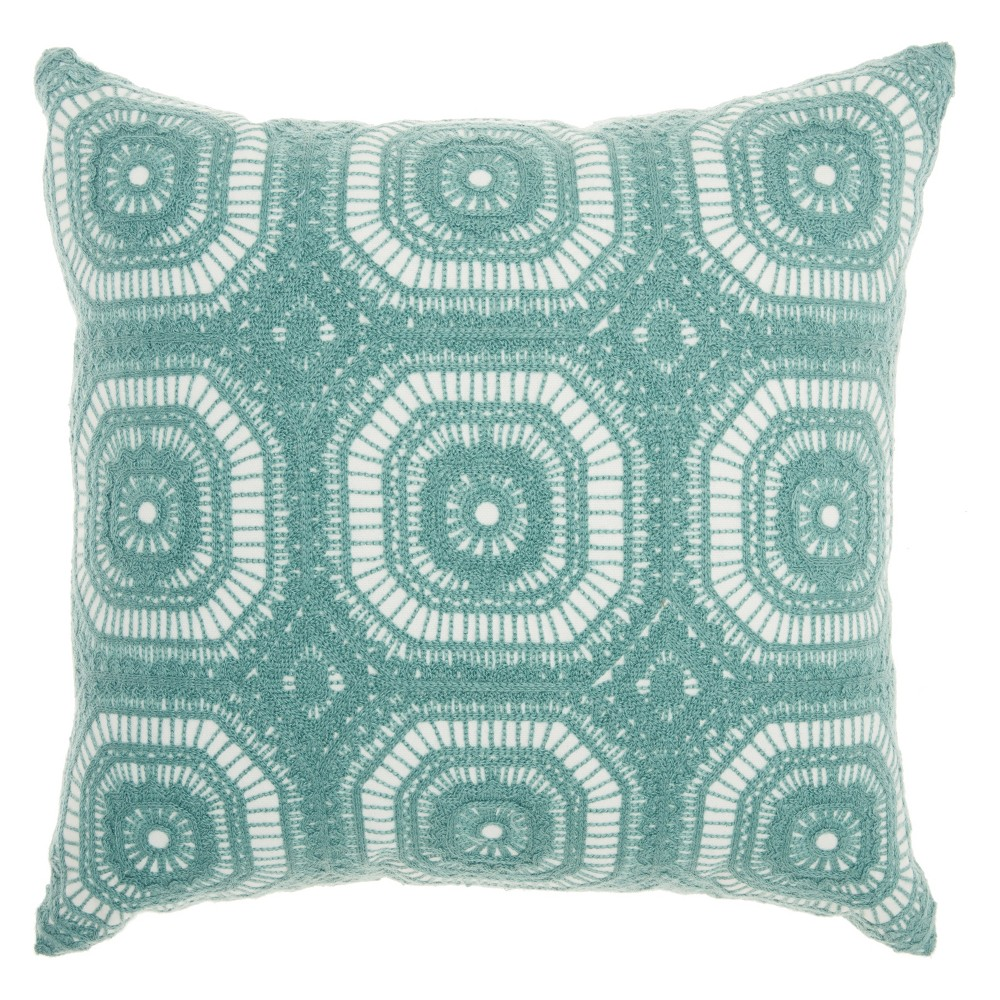 Life Styles Crochet Tiles Square Throw Pillow Pastel Green Mina Victory
