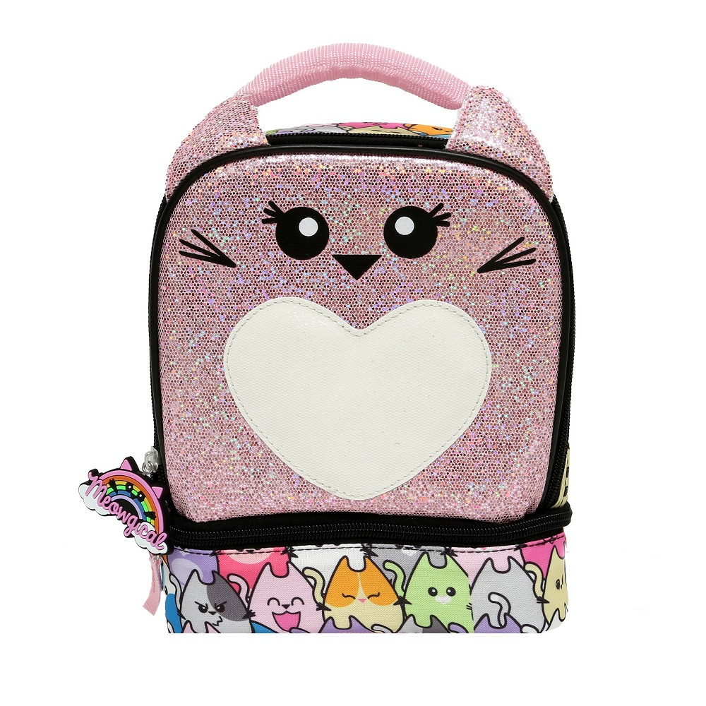 Image of Meowgical Feline Sparkly Lunch Tote, Pink