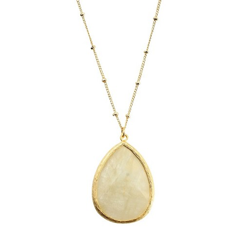 Pear Agate Pendant Necklace - White - image 1 of 1