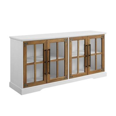 "Avalene Modern Farmhouse 4 Door Glass Window Pane TV Stand for TVs up to 65"" - Saracina Home"