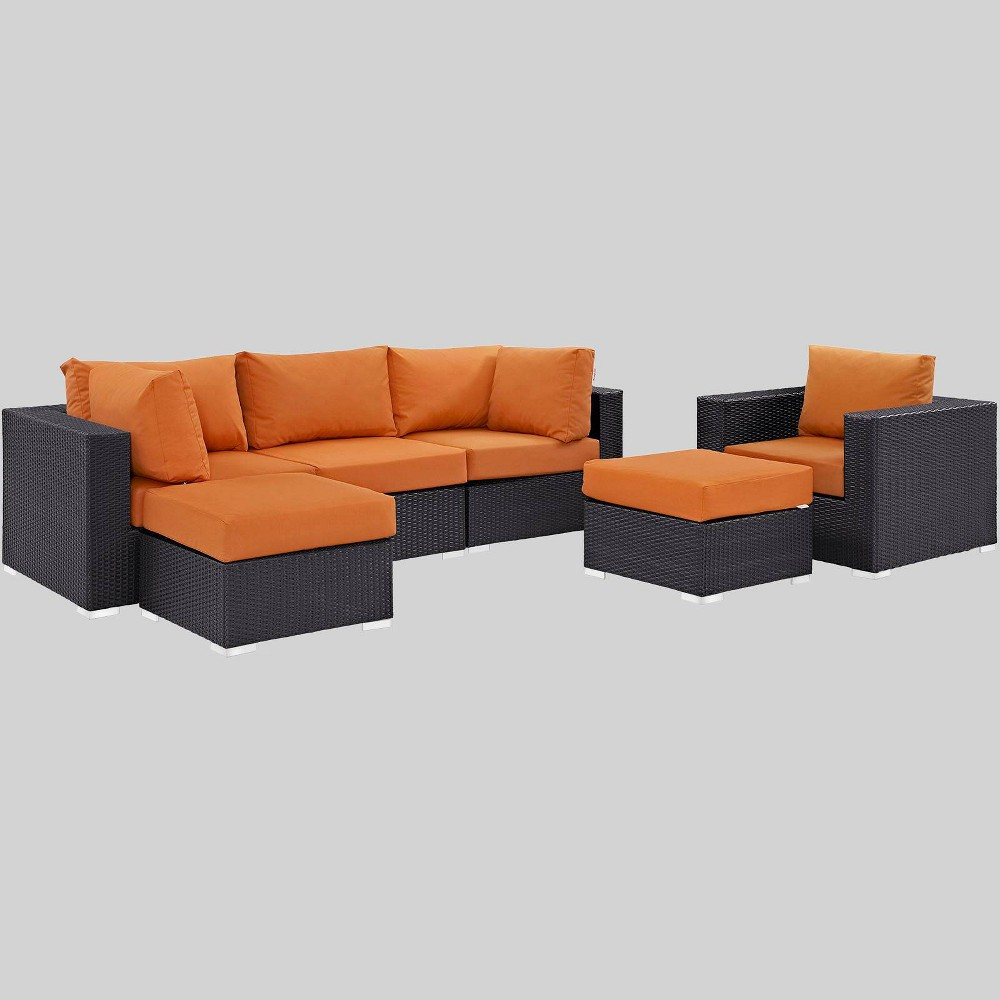Convene 6pc Outdoor Patio Sectional Set - Orange - Modway