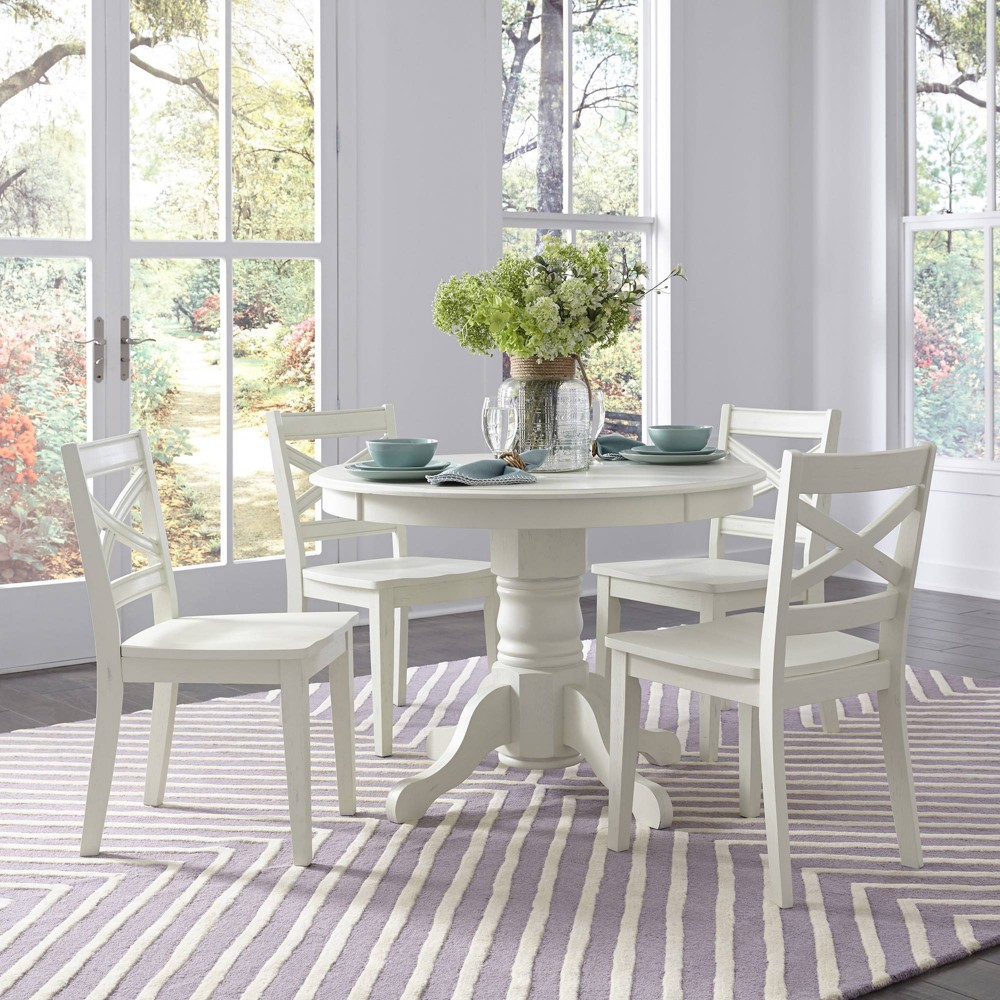 Image of 5pc Seaside Lodge Round Dining Set White - Home Styles