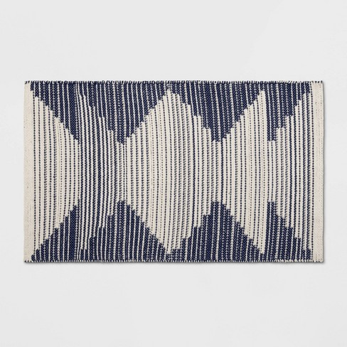 "1'8""X2'10""/20""X34"" Damask Woven Accent Rug Navy/Off White - Room Essentials™ - image 1 of 3"