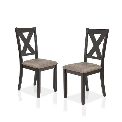 Set of 2 Kilna Padded Seat Side Chairs Black/Ivory - HOMES: Inside + Out