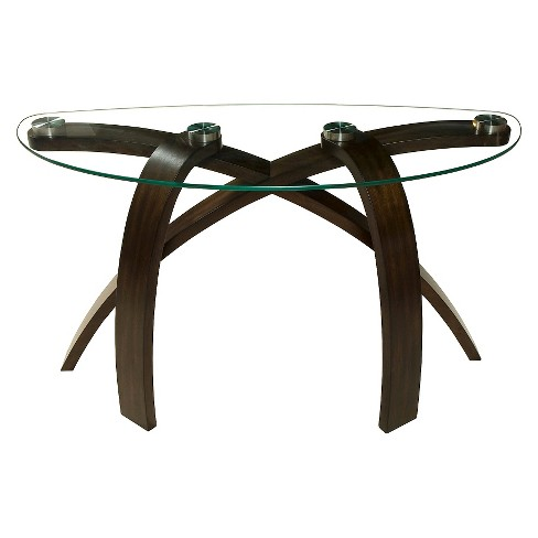 Allure Wood and Glass Sofa Table Hazelnut/Glass - Magnussen Home - image 1 of 3