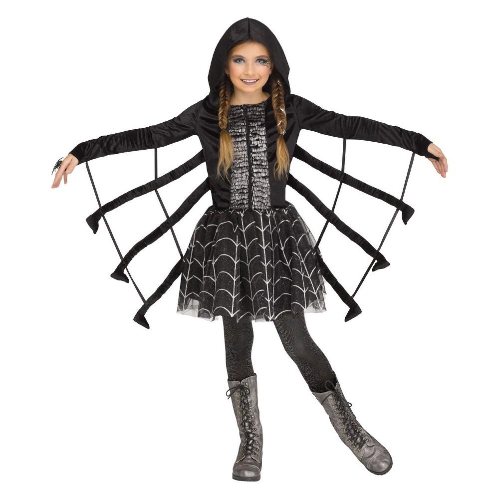 Girls' Sparkling Spider Halloween Costume S, Multicolored