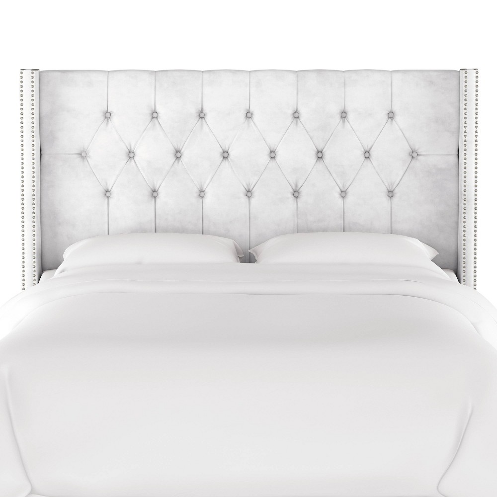 Twin Louis Diamond Tufted Wingback Headboard White Velvet with Pewter Nail Buttons - Skyline Furniture