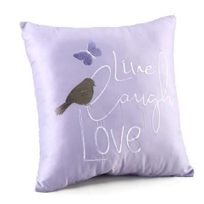 Lakeside Purple Sentiment Decorative Accent Pillow with Live, Laugh, Love