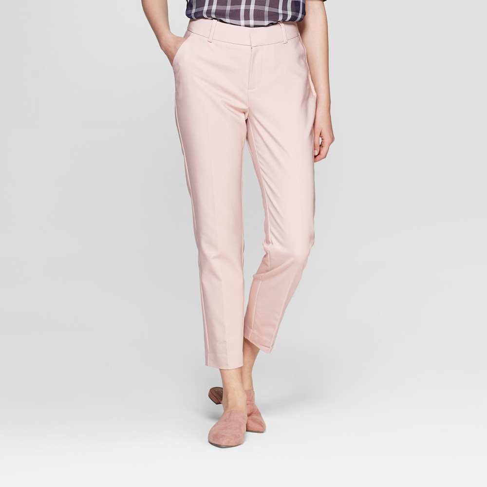 Women's Straight Leg Slim Ankle Pants - A New Day Light Pink 6